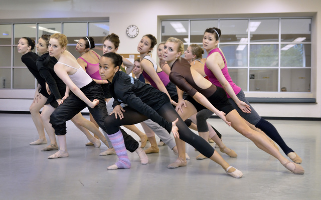 """Members of Nevada Ballet Theatre rehearse for """"A Choreographers' Showcase"""" at the ballet company studios. The showcase, a collaboration between Nevada Ballet Theatre and Cirque du Soleil, is sched ..."""