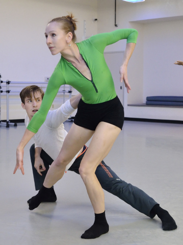 """Braeden Barnes, left, and Mary LaCroix of Nevada Ballet Theatre rehearse for """"A Choreographers Showcase."""" (Bill Hughes/Las Vegas Review-Journal)"""