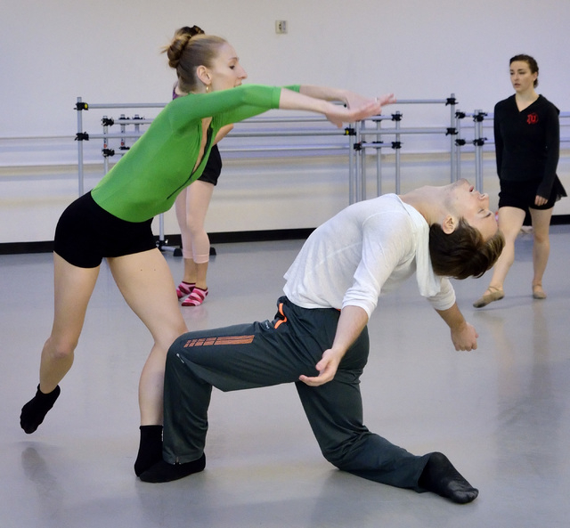 """Mary LaCroix, left, and Braeden Barnes of Nevada Ballet Theatre rehearse for """"A Choreographers Showcase"""" scheduled for Sunday and Oct. 13. (Bill Hughes/Las Vegas Review-Journal)"""