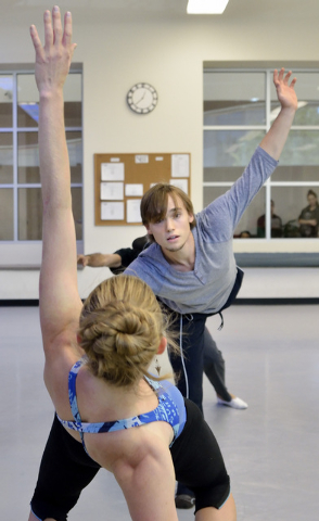 """Alissa Dale, foreground, and Josh Kekoa of Nevada Ballet Theatre rehearse for """"A Choreographers' Showcase"""" scheduled to run in the Mystere Theatre at Treasure Island on Sunday and Oct. 13. (Bill H ..."""