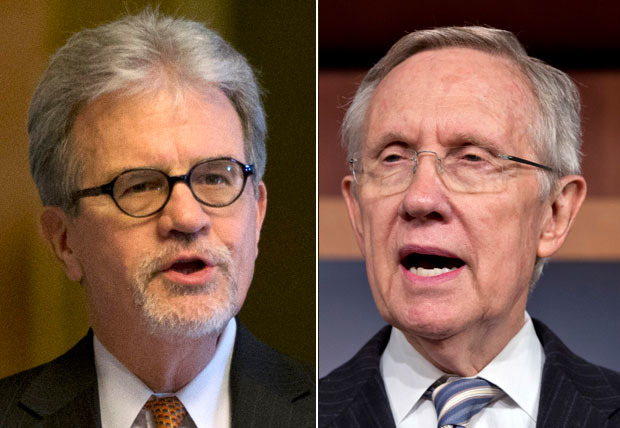 Sen. Tom Coburn, left, used a colorful term to describe Sen. Harry Reid on Monday at a New York gala for young Republicans. (Associated Press File Photos)