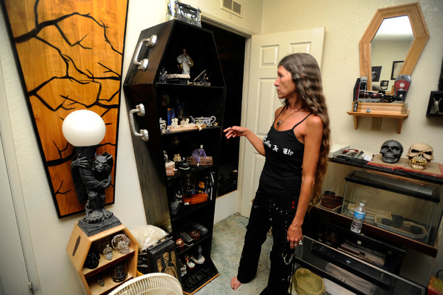 Dusty Schoening's displays a coffin used as a curio cabinet in her Pahrump home. Tours are available as long as visitors call in advance. Donations are requested and average about $10 per person.  ...
