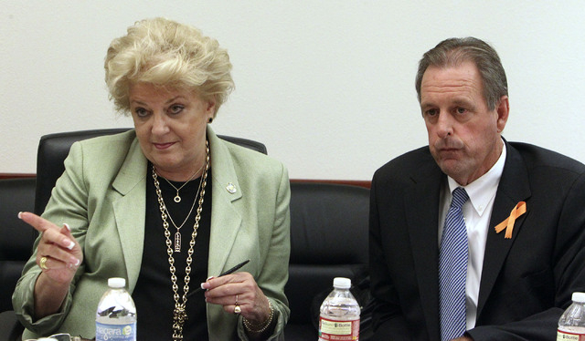 Las Vegas Mayor Carolyn Goodman and North Las Vegas Mayor John Lee talk about consolidation of services between the two cities at an editorial board meeting at the Review-Journal in Las Vegas, Thu ...