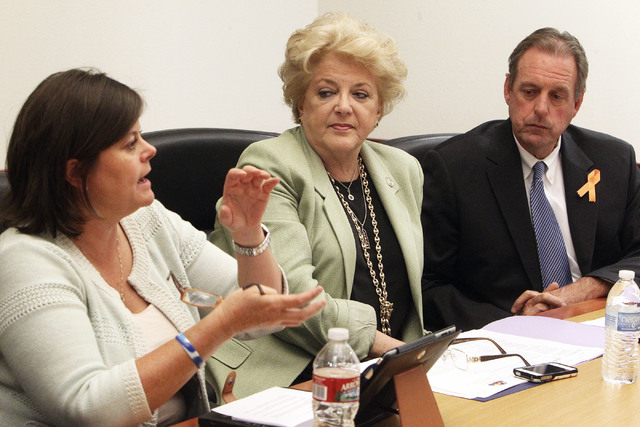 Las Vegas Mayor Carolyn Goodman and North Las Vegas Mayor John Lee listen as Las Vegas City Manager Betsy Fretwell talks about consolidation of services between the two cities at an editorial boar ...