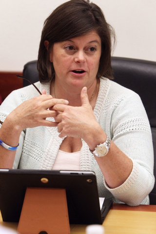 Las Vegas City Manager Betsy Fretwell talks about consolidation of services between Las Vegas and North Las Vegas at an editorial board meeting at the Review-Journal in Las Vegas, Thursday, Oct. 1 ...