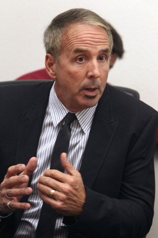 Consultant Thom Reilly talks about consolidation of services between Las Vegas and North Las Vegas at an editorial board meeting at the Review-Journal in Las Vegas, Thursday, Oct. 10, 2013.  (Jerr ...