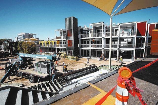 Construction is underway on the Container Park development at the corner of Fremont Street and 7th Street in downtown Las Vegas Thursday, Oct. 3, 2013. (Jessica Ebelhar/Las Vegas Review-Journal)