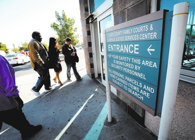 A general view of the entrance to the Clark County Family Court on Friday, Oct. 18, 2013. FBI agents have been interviewing current and former courthouse employees in a stepped-up investigation in ...