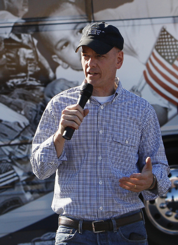 Lt. Col. Steve Russell (U.S.Army, Ret.) speaks on behalf of Concerned Veterans for America to a crowd gathered at Bike Fest at the Cashman Center in Las Vegas on Oct. 4, 2013. The organization is  ...
