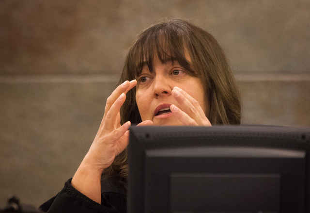 District Judge Valerie Adair  as seen Thursday, Oct. 24, 2013 during sentencing of Dr.  Dipak Desai and nurse anesthetist Ronald Lakeman at Regional Justice Center. Lakeman was sentenced to eight  ...