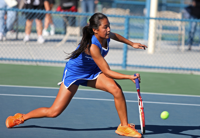 Bishop Gorman sophomore Amber Del Rosario makes a forehand return during the Division I state final against Palo Verde on Friday at Darling Tennis Center. Del Rosario won a key second-round single ...