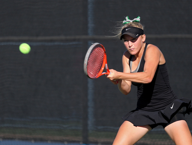 Palo Verde sophomore Chloe Henderson returns the ball during a Division I state championship match against Bishop Gorman at Darling Tennis Center Friday, Oct. 25, 2013, in Las Vegas. Bishop Gorman ...