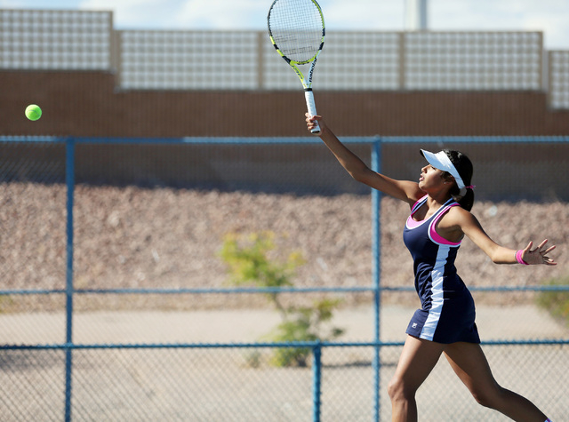 Senior Anjali Daulat of The Meadows eyes a return during the Division I-A state final against Faith Lutheran on Friday at Darling Tennis Center. Daulat went 3-0 in singles, helping the Mustangs co ...