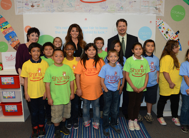 Entertainer Shania Twain spoke to students at Tom Williams Elementary School on Monday. The Shania Kids Can Foundation, in its first U.S. venture, will create a permanent base in the North Las Veg ...