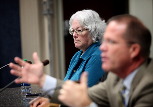 A photo of Clark County School Board President Carolyn Edwards appearing before the Nevada Commission Wednesday, Sep. 18, 2013.  (Jessica Ebelhar/Las Vegas Review-Journal/File photo)