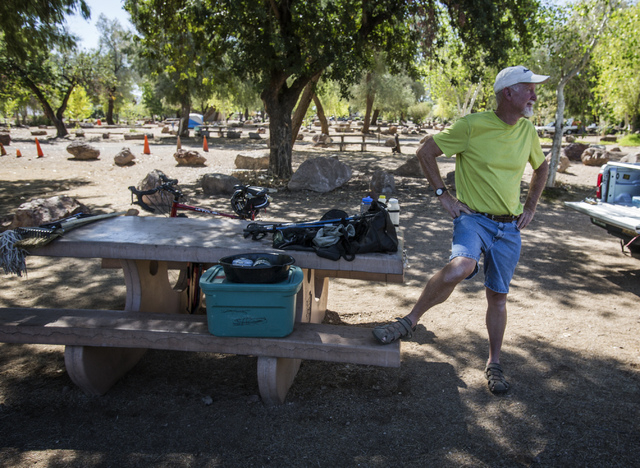 Michael Barnes from Albuquerque at the Boulder Beach campground inside the Lake Mead National Recreation Area on Tuesday, Oct. 1, 2013. Barnes, who has been visiting  national parks for the past f ...