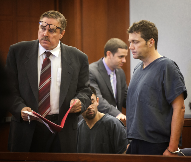 Accused nightclub shooter  Ben Frazier, right, appears in Clark County Justice Court with his attorney Robert Beckett on Wednesday, Oct. 29, 2013. Police say Frazier opened fire outside Drai's Aft ...