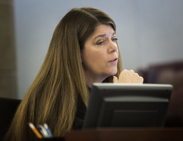 Las Vegas Justice Court Judge Cynthia Cruz as seen Wednesday, Oct. 29, 2013 during the first appearance of accused nightclub shooter  Ben Frazier at Regional Justice Center. Police say Frazier ope ...