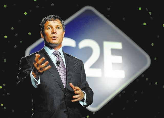 Geoff Freeman, president and CEO of the American Gaming Association, speaks before the keynote address during G2E at the the Sands Expo and Convention Center on Wednesday, Sept. 25, 2013.  (David  ...
