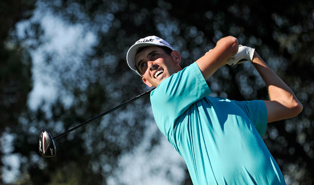 Chesson Hadley watches his tee shot on the first hole during the third round of the Shriner Hospital for Children Open at the TPC Summerlin on Saturday, Oct. 19, 2013. (David Becker/Las Vegas Revi ...