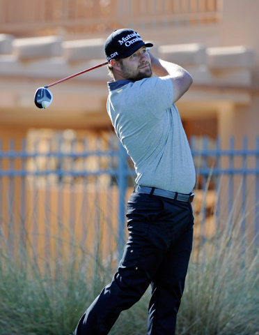Ryan Moore watches his tee shot during the third round of the Shriner Hospital for Children Open at the TPC Summerlin on Saturday, Oct. 19, 2013. (David Becker/Las Vegas Review-Journal)