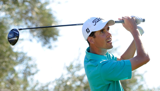 Chesson Hadley watches his tee shot on the 13th hole during the third round of the Shriner Hospital for Children Open at the TPC Summerlin on Saturday, Oct. 19, 2013. (David Becker/Las Vegas Revie ...