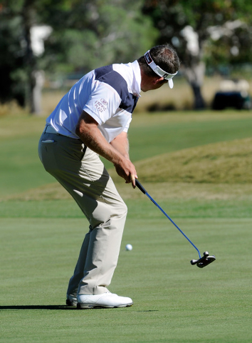 Jason Bohn does a little dance after putting during the third round of the Shriner Hospital for Children Open at the TPC Summerlin on Saturday, Oct. 19, 2013. (David Becker/Las Vegas Review-Journal)