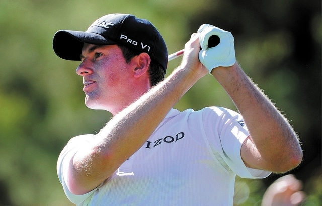 Webb Simpson watches his drive during the third round of the Shriner Hospital for Children Open at the TPC Summerlin on Saturday, Oct. 19, 2013. (David Becker/Las Vegas Review-Journal)