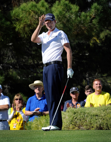 Webb Simpson waves to the crowd upon being introduced before starting the third round of the Shriner Hospital for Children Open at the TPC Summerlin on Saturday, Oct. 19, 2013. (David Becker/Las V ...