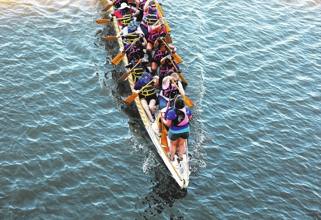 Members of the Pink Paddlers dragon boat team practice at Lake Las Vegas on Sept. 22. The team, made up of breast cancer survivors, plans to compete in St. Rose Dominican Hospital's fifth annual ...