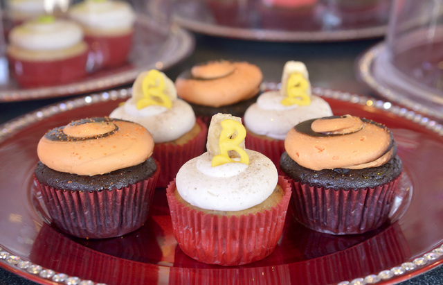 Selections at the Showboy BakeShop include the Banana Bell Bundy cupcake, center, named for Broadway actress Laura Bell Bundy, and a Halloween-themed cupcake called the Phantom. (Bill Hughes/View)