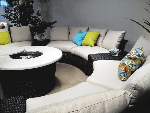 Lloyd Flanders Contempo Curved Sectional Sofa And Round Fire Pit. With  Modular Pieces, That