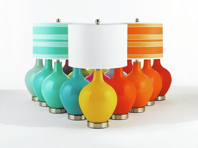 10-29-12-color-plus-6; contemporary-modern style; display shot; table lamps scene; X1360-X8734 cherry tomato table lamp; X1360-X8887 eros pink table lamp; X1360-X8903 daredevil table lamp; X1360-X ...