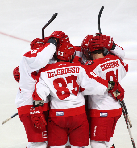 Las Vegas Wranglers players celebrate after a score against Alaska Aces during a game at the Orleans Arena in Las Vegas on Friday, Oct. 25, 2013. (Chase Stevens/Las Vegas Review-Journal)