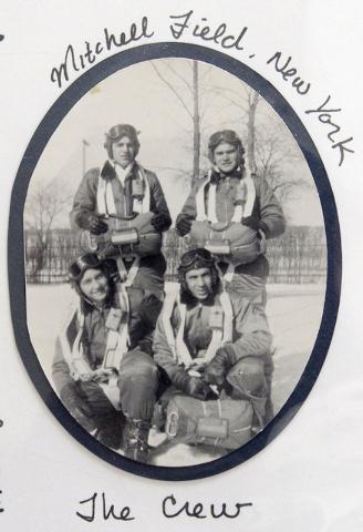 World War II veteran Ed Turken is in a photo taken at Mitchell Field in New York in 1943. Turken is the flyer at the top right. (Courtesy/Ed Turken)