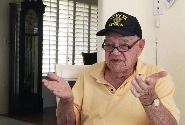 World War II veteran Ed Turken talks about his war experiences Monday at his home in Las Vegas. (Jerry Henkel/Las Vegas Review-Journal)