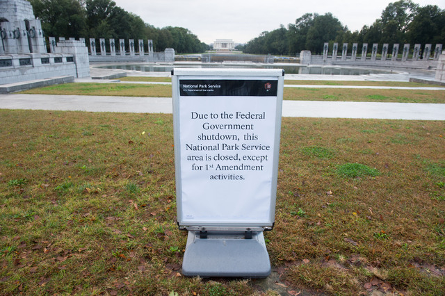 National Park Service sign in front of the World War II Memorial Saturday October 12, 2013 in Washington, DC(Lisa Helfert/Special to the Las Vegas Review-Journal)