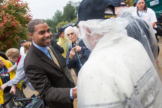 Representative Horsford greets World War II Veteran Richard Shorr, Saturday October 12, 2013 at the World War II memorial in Washington DC. (Lisa Helfert/Special to the Las Vegas Review-Journal)