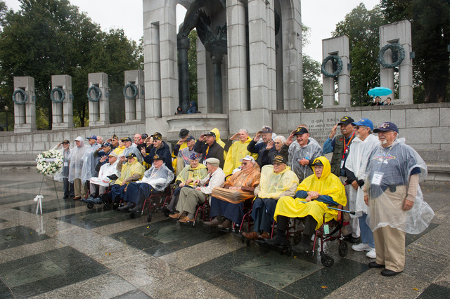 Thirty Five World War II Veterans from Nevada stand for a group photo at the World War II Memorial Saturday October 12, 2013 in Washington DC.  (Lisa Helfert/Special to the Las Vegas Review-Journal)