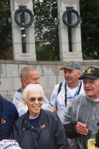 World War II Veteran Elizabeth Dupont stands with a group of World War II Veterans for a photo opportunity at the World War II memorial Saturday October 12, 2013 in Washington DC. (Lisa Helfert/Sp ...