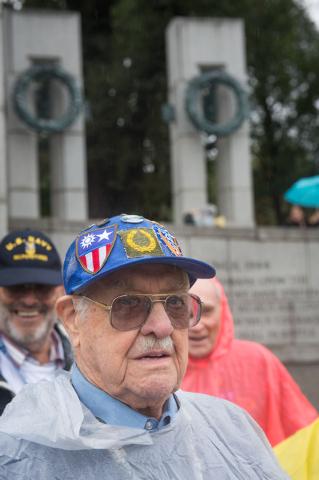 World War II Veteran Marvin Harmann from Las Vegas, Nevada tours the World War II memorial Saturday October 12, 2013 in Washington, DC.(Lisa Helfert/Special to the Las Vegas Review-Journal)