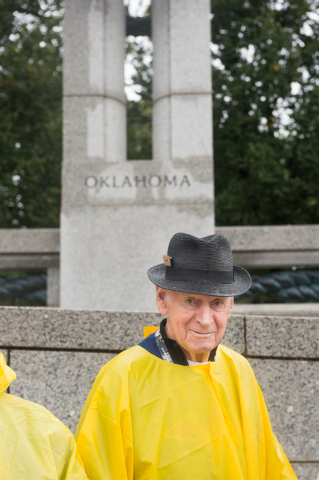 World War II Veteran Hank Koppen of Las Vegas, Nevada tours the World War II memorial Saturday October 12, 2013 in Washington, DC. (Lisa Helfert/Special to the Las Vegas Review-Journal)