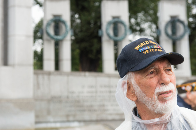 World War II Veteran Richard Shorr tours the World War II memorial Saturday October 12, 2013 in Washington, DC. (Lisa Helfert/Special to the Las Vegas Review-Journal)