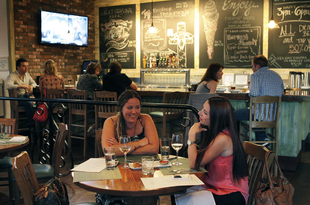 Bradley Ogden's Hops & Harvest restaurant at Tivoli Village is comfortable but sort of like a sports-bar, without the noise and with a soundtrack that's straight '60s and '70s classic rock.  ...