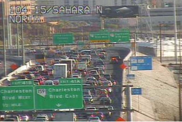 Cars backed just before the Charleston exit on I-15 northbound. (Courtesy/NDOT traffic cam)