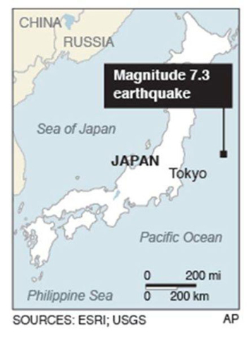 An earthquake of 7.3 magnitude struck Saturday morning just off the east coast of Japan.