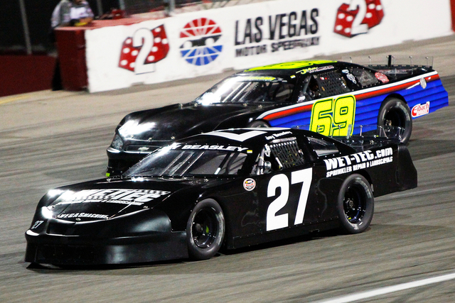 COURTESY PHOTO/JEFF SPEER Jay Beasley (No. 27) races at The Bullring at Las Vegas Motor Speedway.