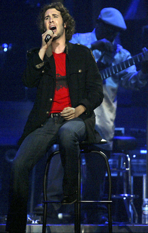 RJ FILE*** RALPH FOUNTAIN/REVIEW-JOURNAL Singer Josh Groban performs at MGM Grand Arena April 7, 2007.