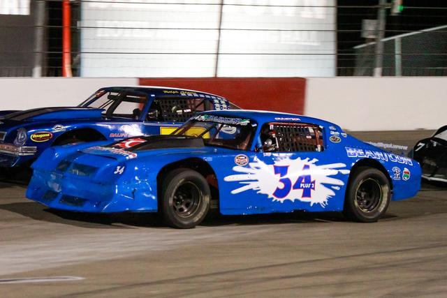 COURTESY PHOTO/JEFF SPEER Kayli Barker (No. 34) racing last season at The Bullring at Las Vegas Motor Speedway.