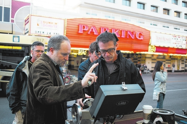 """Last Vegas"" director Jon Turteltaub, left, discusses a scene while filming in downtown Las Vegas. (Courtesy/CBS Films)"